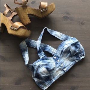 Bongo Y2K Blue Plaid Cropped Bra Top